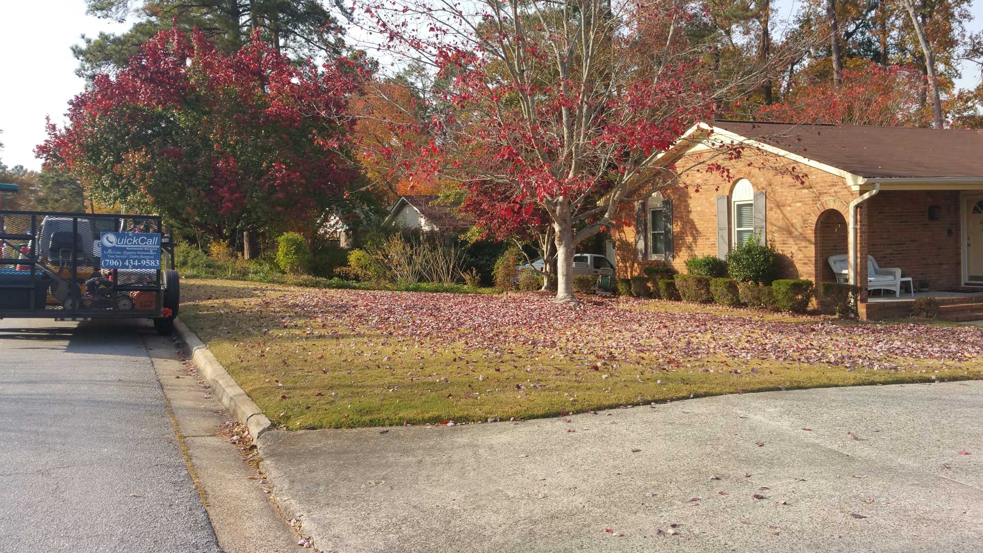 Residential fall leaf clean up in Martinez, GA.
